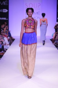 Contemporary Indian Dresses | Indian Designer Sougat Paul's collection at the Lakme Fashion Week Winter Festive 2014