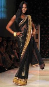 Naomi Campbell in a Black Saree