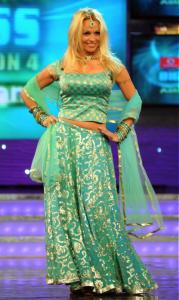 Pamela Anderson in a Turquoise Wedding Lehenga