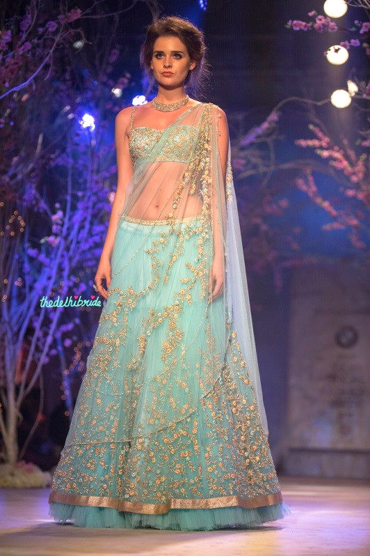A beautiful powdery blue bridal lehenga by Jyotsna Tiwari