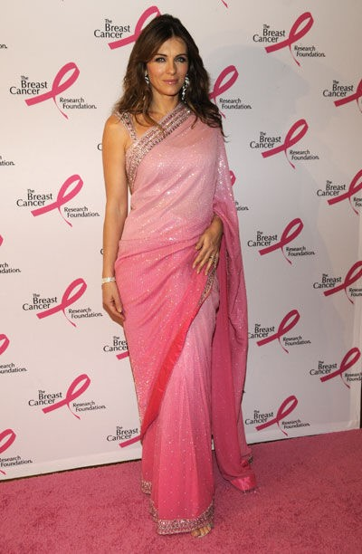 Liz Hurkey in a dual tone pink saree - Bollywood Weddings