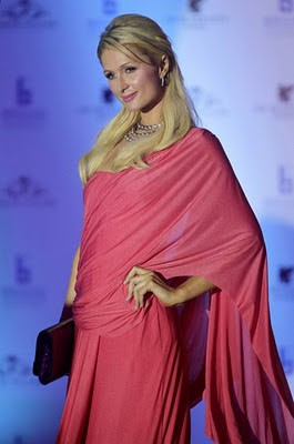 Paris Hilton in a pink saree - Bollywood Sarees