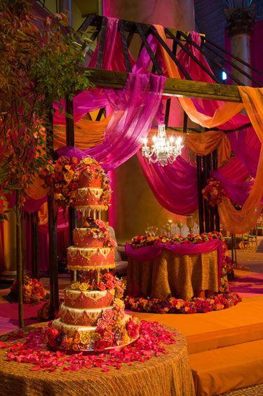 Stunning orange and pink stage set up