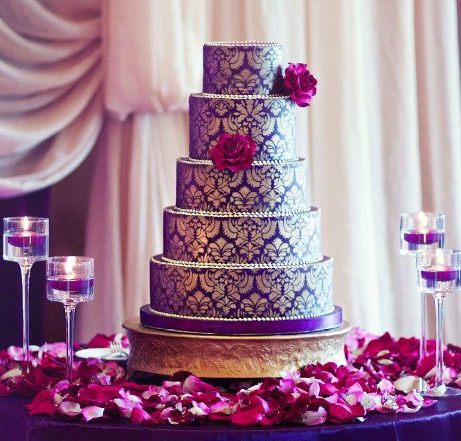 Purple and gold brocade cake